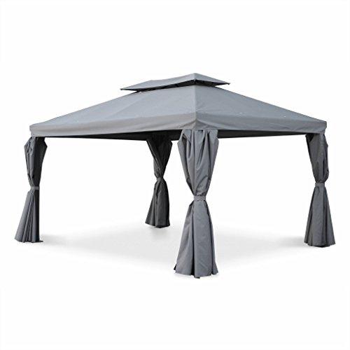 Alice's Garden Pergola Aluminium - Divodorum 3x4m - Toile Grise - Pergola avec Rideaux, Structure Aluminium