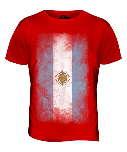 CandyMix Argentinien Verblichen Flagge Herren T Shirt Rot