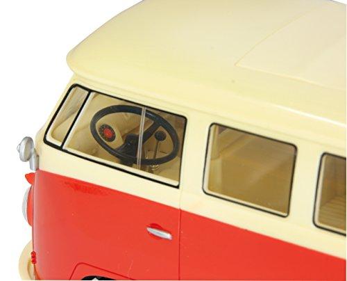 RC Auto kaufen Spielzeug Bild 2: Jamara 405119 - VW T1 Classic Bus 1:16 1963 2 Kanal 2,4GHz - LED, detailgetreuer Innenraum, Fahrzeugdetails in Chrom: Scheibenwischer, Radkappen, Außenspiegel, Türgriffe, Scheinwerfereinfassungen*