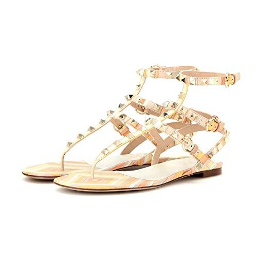 ... Onlymaker Damen Sandalen Sommer Schuhe Nieten T-Strap Gladiator Flats  Strand Flip Flop Orange ...