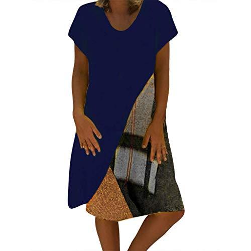 QIMANZI Kleider Damen Sommer StilV-Ausschnitt Gedruckt Baumwolle und LeinenBeiläufig Übergröße Kleid(E Blau,M) - Panel V-ausschnitt Kleid