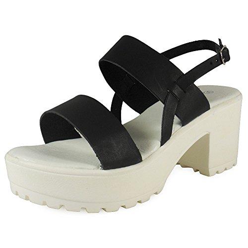 Loudlook Nouveau Femmes Dames Boucle Cheville Crampons Semelle Plateforme Chaussures ? Talon Moyen Sandales Taille 3-8 Black