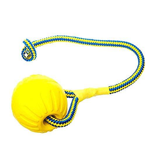 Doublehero Haustier Hund Kauspielzeug,Unzerstörbar Einfarbig Hundespielzeug Ball Eva Bälle mit Seil Hundebälle Zahnreinigung Spielzeug für Wepeln (A(7 * 7cm))