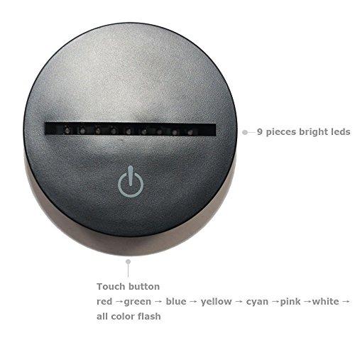 Lampe 3d Illusion Lichter der Nacht, kingcoo verstellbar 7Farben LED Acryl 3d Creative Stereo Touch Switch Visual Atmosphäre Licht Tisch, Geschenk für Geburtstag Weihnachten Modern Saxófono - 6