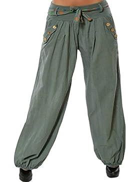 Pantalones De Linterna Mujer Verano Elegantes Hipster con Cinturón Pantalones Harem Pantalones Hippies Anchos...