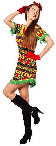 W4205-42 bunt Damen Bandita Kleid Mexikaner Kostüm Gr.42