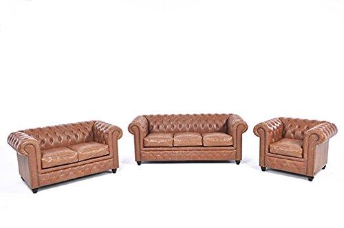 Original Chesterfield Sofas und Sessel – 1 / 2 / 3 Sitzer – Vollständig Handgewaschenes Leder – Vintage Mokka