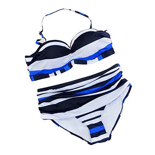 Big D Halfter (SEYMI Gestreifte Halfter Push Up Hohe Taille Bikini Set Frauen Crop Top Muster Bandeau Underwire Bademode Baden Big Size Push Up, Multi, XXL)