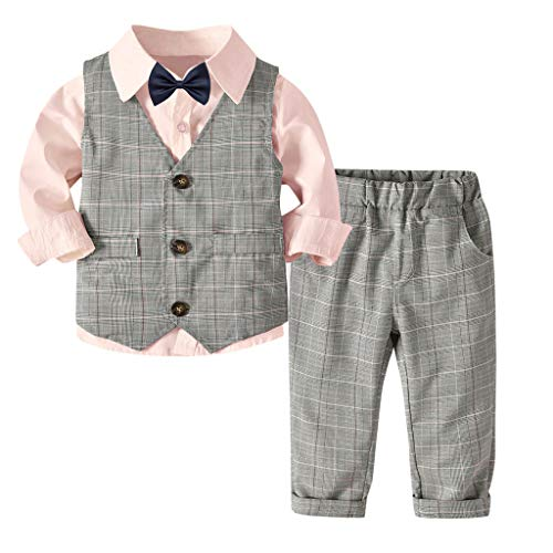 MRULIC Baby Junge Bowtie Gentleman Weste T-Shirt Hosen Hochzeit Anzug Tuch Sets(A-Rosa,Höhe:80-90cm)