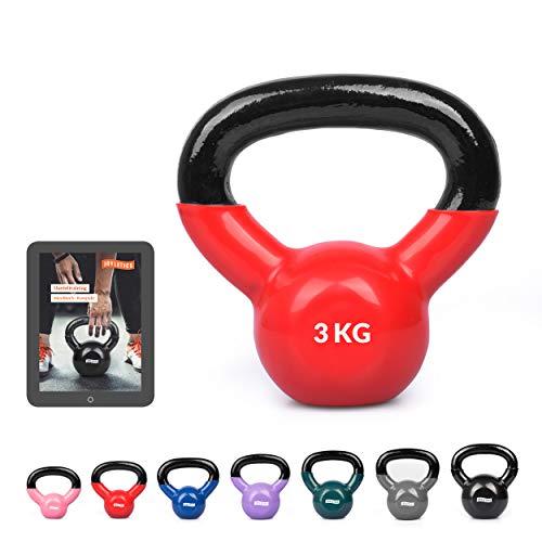 Joyletics® Kettlebell »Shiny« mit Vinyloberfläche | Vinyl Kugelhantel | Rutschfest und bodenschonend für Gymnastik, Fitness- und Krafttraining | 3,0 kg, rot