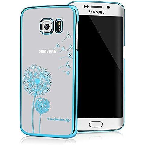 Galaxy S6 Edge Funda Transparente Crystal PC Dura Case - Mavis's Diary® Bling Diamantes Estuche Rígido Carcasa para Samsung Galaxy S6 Edge Diseño Diente de león