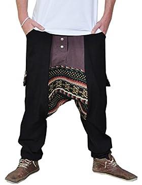 Lange Haremshose in 2 Farben mit tiefem Schritt als alternative Kleidung und Jogging Haremshose von virblatt M...