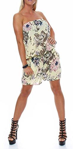 malito court Jumpsuit Romper Body Salopette 8058 Femme Taille Unique jaune