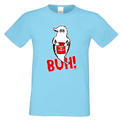 Extrem stylisches gruseliges Halloween-Herren-Fun-T-Shirt als Geschenke-Idee Motiv: Geist Buh! Farbe: hellblau Hellblau