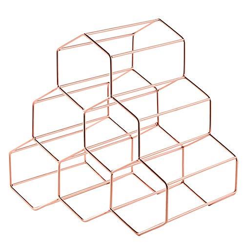 ASD Modernes Honeycomb Metal Design Flaschenhalter Weinregal for 6 Flaschen Praktischen Startseite Weinklimaschrank Dekoration