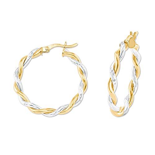 amor Damen-Ohrringe Creolen bicolor aus Gold 375