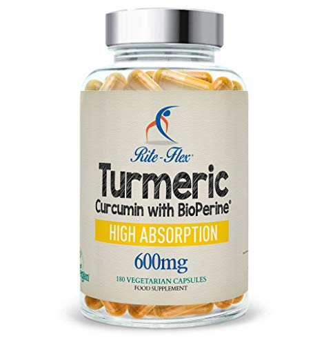 Curcuma curcumina 600mg con BioPerine 180 Vegetariano Vegano capsule resistenza ottimale Alto assorbimento, da rito Flex