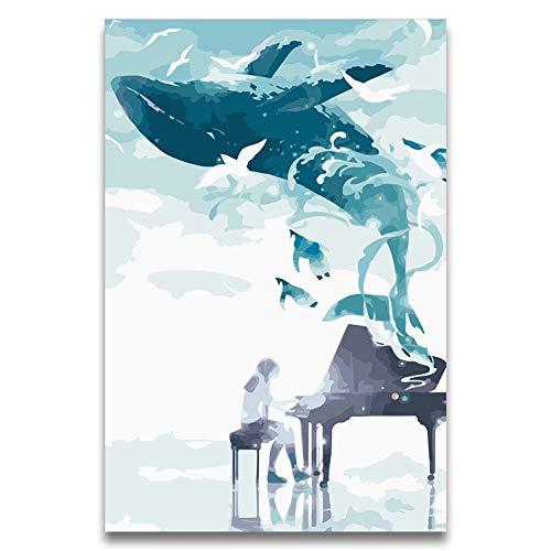 Bricolaje Pintura al óleo por números Kits Imagen de anime Chica tocando música una ballena Gaviota disfrutando de la música,coloreando en bruto por números para niñas,sin marco,60X75cm