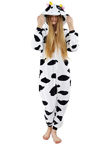 Pyjama Kuh Kostüm - Unbekannt Damen Fleece Einteiler Nachtwäsche Pyjama Kostüm Kapuze Kuh schwarz weiß Gr. S