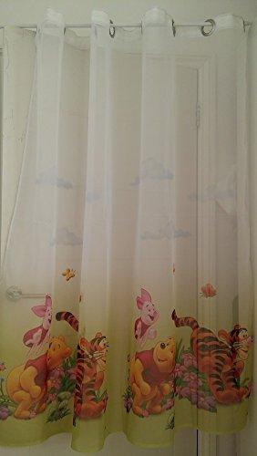 CURTAINS Set 2x Winnie The Pooh in Voile Tenda Anelli 75cm Larghezza x 150cm Goccia