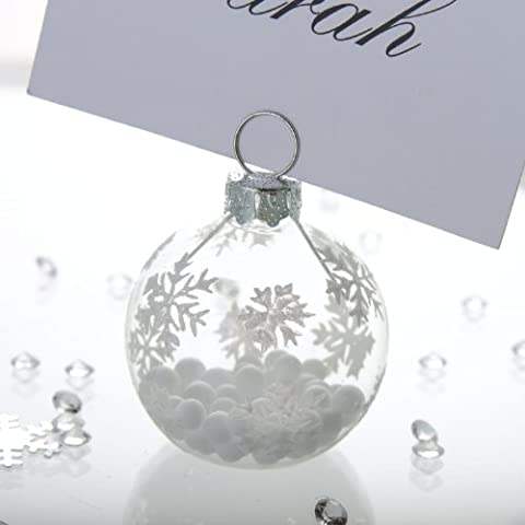 CSC Imports Ltd - Segnaposti a forma di palla di Natale, con fiocchi di neve, set da 6, perfetti per cene natalizie e matrimoni