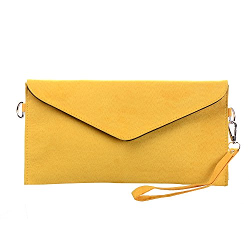 Designer Inspiriert Wildleder Handtasche (Tedim Damen PU Wildleder Hochzeit Envelope Clutch (gelb))