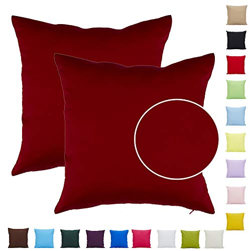 Comoco - 2 pezzi tinta unita cotone decorativo federa cuscino per divano caso cuscino 18 x 18 pollici (45 x 45 cm)-borgogna