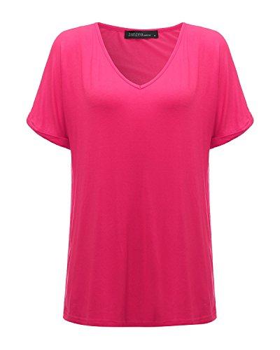 ZANZEA Femme Sexy Mousseline Col V Chemise Irrégulier Tops Blouse Manches Courtes T-Shirt Rose