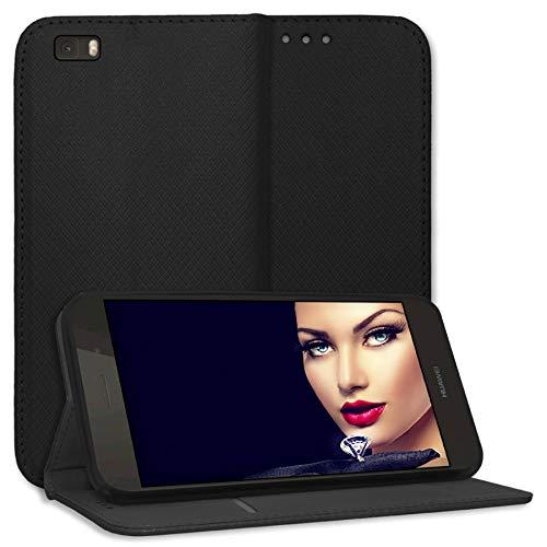 mtb more energy® Schutz-Tasche Bookstyle für Huawei P8 Lite (ALE-L21. / BJ 2015/5.0'') | schwarz | Kunstleder | Klapp-Cover Hülle Case