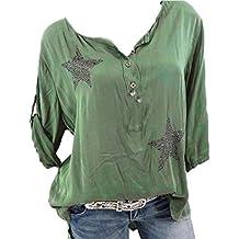 b509d999f3efdf WWricotta Damen Bluse V-Ausschnitt Locker Hemd Vintage Blusenshirt Lose  Casual Langarm Tunika Oversize Oberteile
