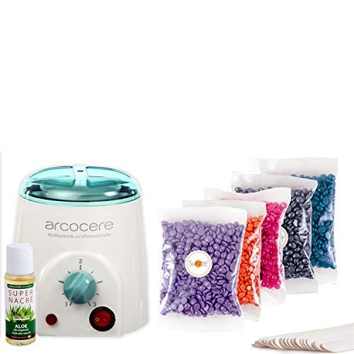 Sunzze Probier Enthaarung Waxing-Kit-Set Heißwachs | mit Erhitzer, Wachs, Lotion und Spatel -
