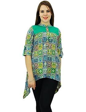 Phagun algodón Kurti étnico Impresión del extracto del diseñador de las mujeres del vestido ocasional de Kurta