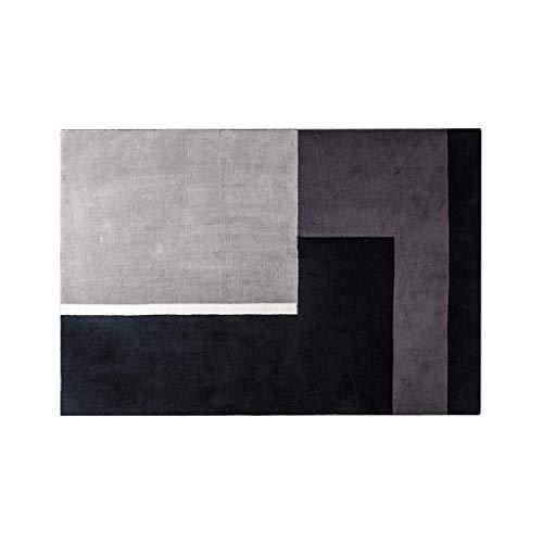 Teppiche JXLBB Schwarz Grau Geometrische Modernen Minimalistischen Wohnzimmer Studie Sofa Couchtisch Mat 1,2x1,7 mt Geeignet Mode Polyester