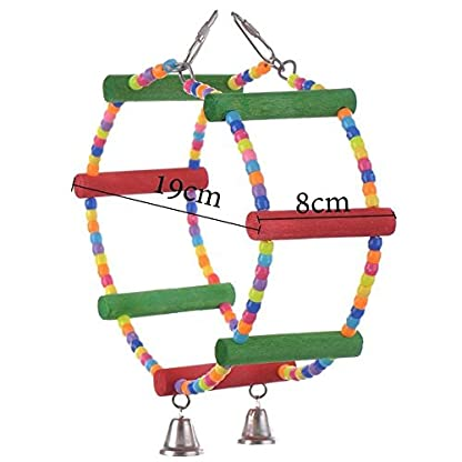 LA VIE Parrot Bird Toy Wooden Rope Cave Aviary Ladder Swings Bells 2