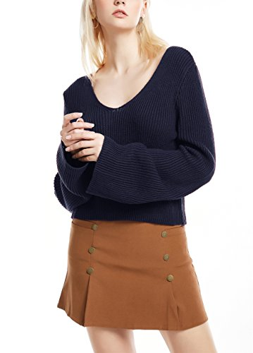 Femme Pull Casual Col V Sexy Uni Manche Longue Evasée en Tricot Top Chic Simple Elégante Pull Veste Monissy Bleu foncé