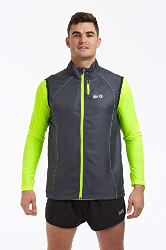time to run Windfeste Joggingveste für Herren Holzkohle Grau/Limette XL