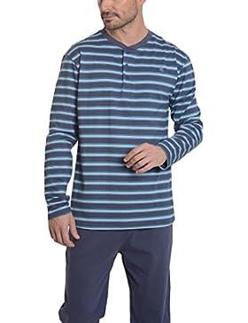 Pijama de Caballero Largo Moderno a Rayas/Ropa de Dormir para Hombre - Punto, 100% Algodón - Color Azul Verdoso...
