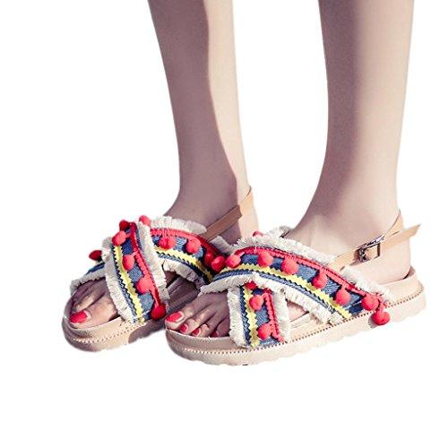 (Cooljun Damen Sandalen Offen Hippie Bommel Ibiza Style Bohemien Flats Böhmen Sandalen Gladiator Sandaletten Bunt Flach Schuhe Frauen Übergröße Offene Flache Badesandalette Elegante Strandschuhe (38, rot))