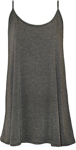 WearAll - Grande taille swing débardeur top à lanières - Hauts - Femmes - Tailles 44 à 50 Gris Foncé