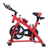MuGuang Heimtrainer Fitnessbike Fahrrad Indoorcycling Home Fahrradtrainer Cardio Workout, direktes Riemenantrieb, Einstellbare Lenker und Sitz mit LCD-Display Scan, Zeit, Geschwindigkeit, Entfernung, Kalorien, Kilometerzähler(rot)