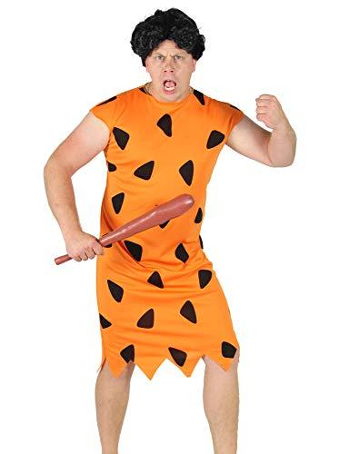 Foxxeo orange schwarzes Steinzeit Herren Kostüm für Fasching und Karneval Paarkostüm Partnerkostüm Erwachsene Größe M