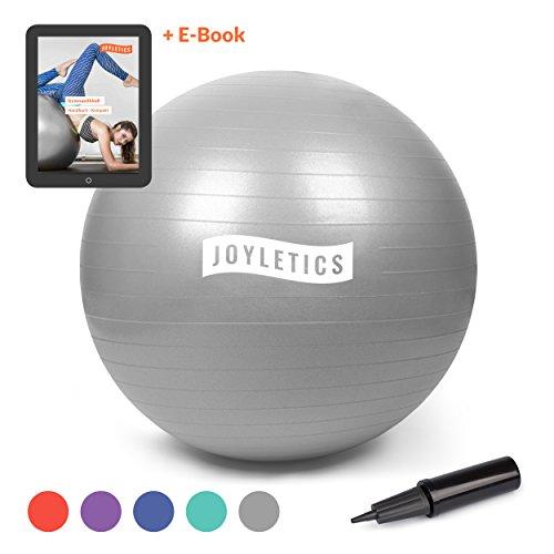 Joyletics Gymnastikball »M« | Sitzball und Fitnessball für Ein entlastendes Sitzen und vielfältiges Ganzkörpertraining | Gymnastik-Ball Durchmesser 75 cm, Silber-Grau (Ball-sitz-sitz)