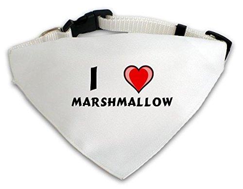 Personalisierter Weißer Hundschal mit Aufschrift Ich liebe Marshmallow (Vorname/Zuname/Spitzname)