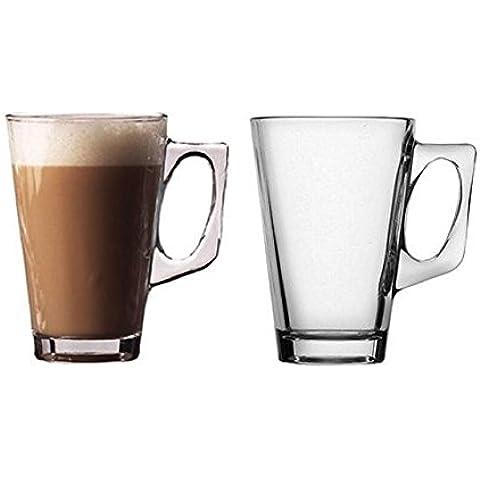 Vetro Caffè/Cappuccino/tazza/tazze 240ml Café Latte Tazza Di Vetro Set di due (2) per tè o caffè bere–Igiene e sicurezza alimentare Friendly