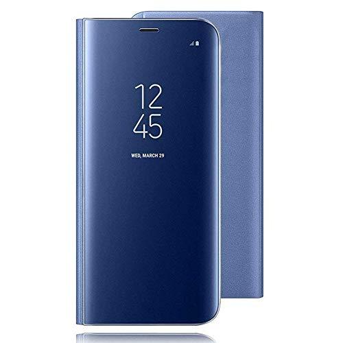 Brand Set Funda Xiaomi Redmi Go del teléfono móvil Espejo Inteligente Cubierta Funda Doble Cubierta de protección de Ventana Ultra-Delgada con función de Soporte Adecuado para Samsung A90-Azul