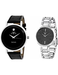Traktime Black Dial Couple Combo Watch For Men And Women - Unique Leather Analog Quartz Leather & Stainless Steel...