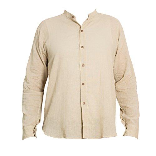 PANASIAM Sommer Hemden aus wohlig weicher, 100% reiner Naturbaumwolle Shirt 6button BEIGE