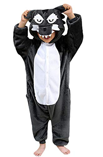 (DELEY Unisex Kinder Pyjamas Onesie Cartoon Tier Nachtwäsche Kapuzen Strampelanzug Halloween Cosplay Kostüm Grey Wolf 10-11)