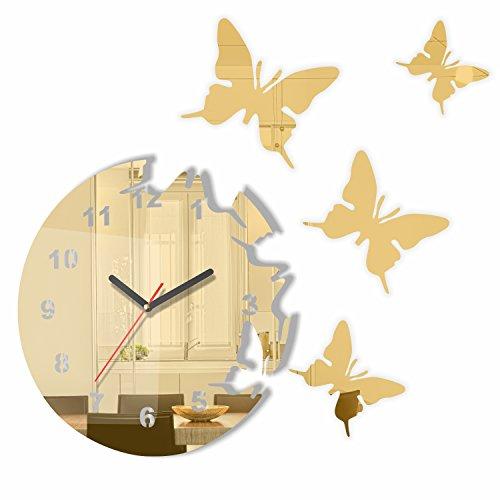 FLEXISTYLE Moderno Reloj Pared diseño Mariposa Espejo