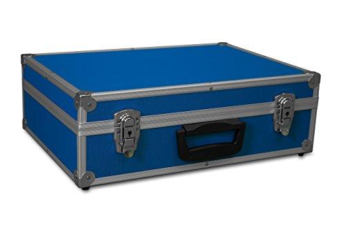 GORANDO® Transport-Koffer in blau mit Aluminiumrahmen für Werkzeuge, Kamera, Messgeräte   Schaumstoff-Auskleidung   10kg belastbar   440x300x130mm